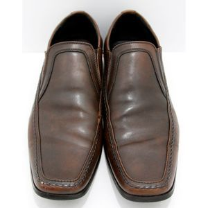 Kenneth Cole Key Note Brown Leather Loafers 11.5 M
